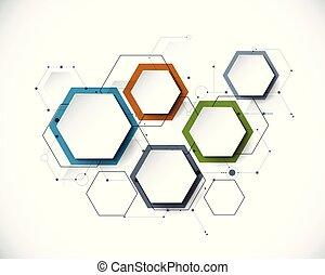 integrato, esagono, carta, fondo, etichetta, molecola, ...