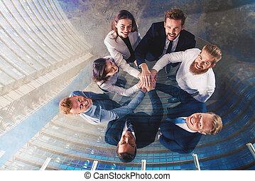 integrazione, esposizione, affari, insieme., persone, lavoro squadra, mettere, doppio, loro, mani, concetto, partnership.