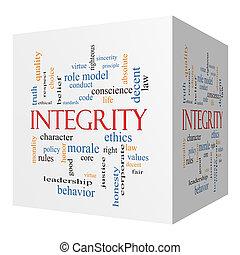 integridad, 3d, cubo, palabra, nube, concepto