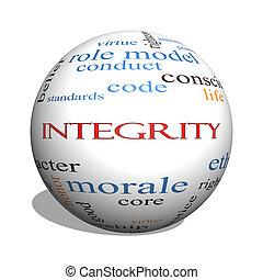 integridad, 3d, esfera, palabra, nube, concepto