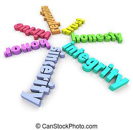 integridade, 3d, palavras, honestidade, honra, reputação,...