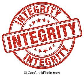 integridade, grunge vermelho, redondo, vindima, selo...