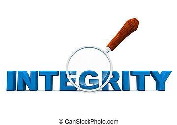 integrità, e, lente ingrandimento