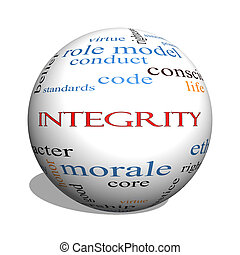 Integrity 3D sphere Word Cloud Concept with great terms such...