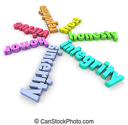 Integrity 3D Words Honesty Honor Reputation Sincerity -...
