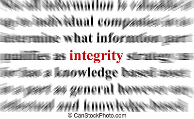 Integrity - A conceptual image with the focus on the word ...