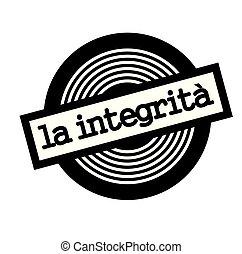 integrity black stamp in italian language. Sign, label, sticker