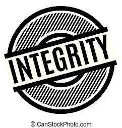 integrity black stamp on white background , sign, label