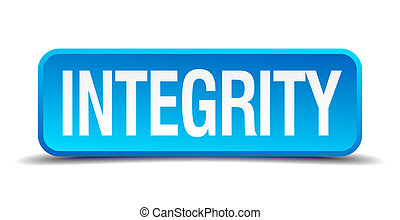 Integrity blue 3d realistic square isolated button