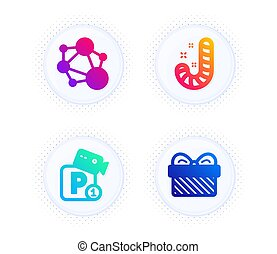 Integrity, Candy and Parking security icons set. Gift sign. Social network, Lollypop, Video camera. Present. Vector
