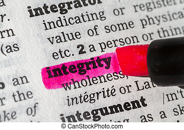 Integrity Dictionary Definition highlighted with a pen
