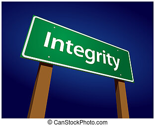 Integrity Green Road Sign Illustration on a Radiant Blue...