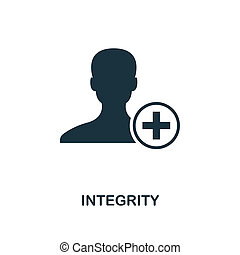 Integrity icon. Monochrome style design from business ethics icon collection. UI and UX. Pixel perfect integrity icon. For web design, apps, software, print usage.