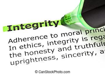 'integrity', markerad, in, grön
