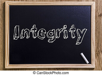 Integrity - New chalkboard with outlined text - on wood