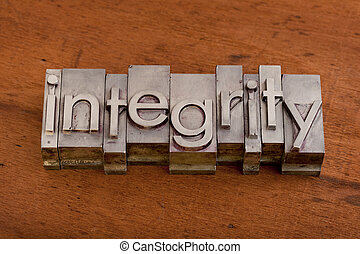 integrity or ethics concept - integrity word in vintage,...
