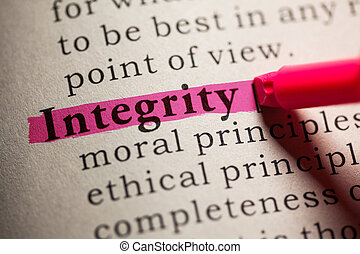 integrity - Fake Dictionary, definition of the word...