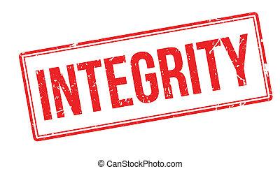 Integrity rubber stamp on white. Print, impress, overprint.