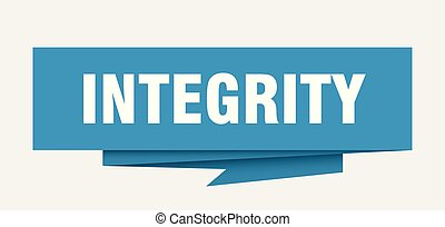 integrity sign. integrity paper origami speech bubble....