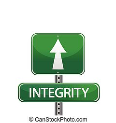 integrity sign - Integrity road sign isolated on a white...