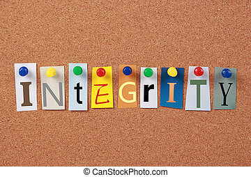 Integrity Single Word - The word Integrity in cut out...
