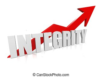 Integrity with upward red arrow - Rendered artwork with...