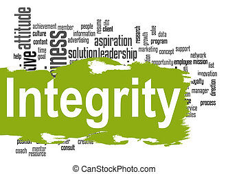 Integrity word cloud with green banner - Integrity word...