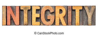 integrity word in vintage wood type