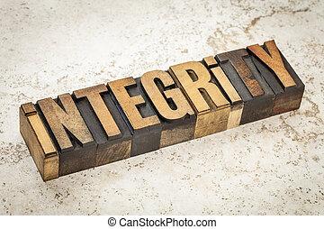 integrity word in wood type