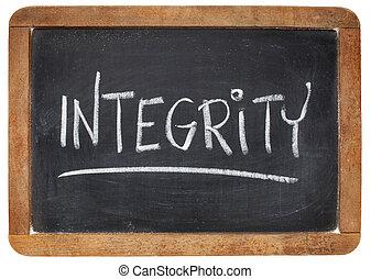 integrity word on blackboard - integrity word - white chalk...