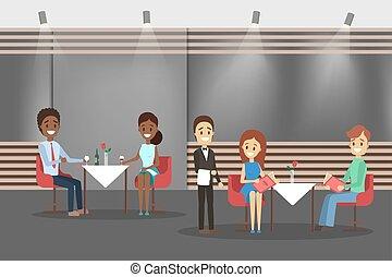 inteior., table, gens, café, séance