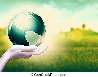 inteiro, abstratos, fundos, ambiental, mundo, mãos, seu