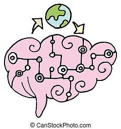inteligência, artificial, cérebro