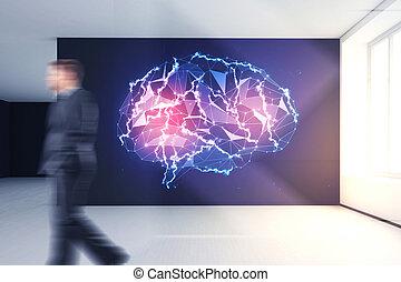 inteligência artificial, e, mente, conceito