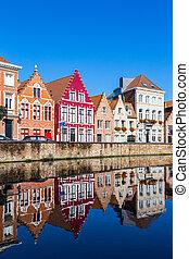 inteligência, casas, rua, antigas, coloridos