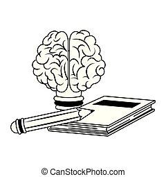 inteligência, criatividade, cérebro, pretas, desenhos animados, human, branca