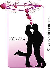 inteligência, dia valentineçs, cartão, saudação