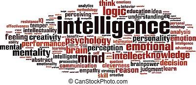 inteligência, palavra, nuvem