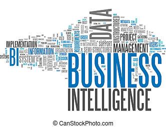 inteligência, palavra, nuvem, negócio