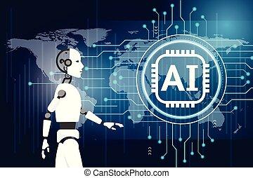 inteligence, concept., robot, umělý