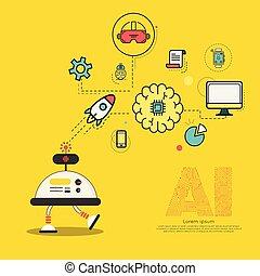 inteligence, zhušovat, robot, umělý, ikona