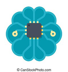 inteligencia artificial, vector, icono