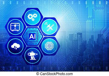 inteligencia, concepto, moderno, artificial, informática
