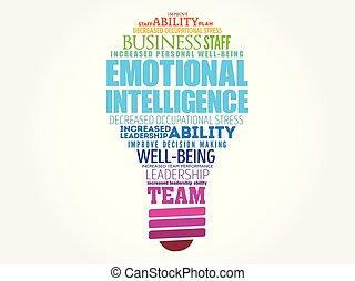 inteligencia, emocional, bombilla, palabra, nube, luz