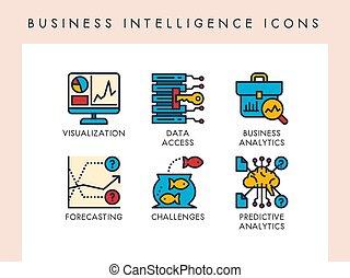 inteligencia, iconos del negocio
