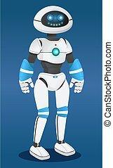 inteligencia, innovador, modelo, robot, fondo azul, futurista, artificial, humanized