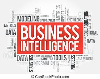 inteligencia, palabra, empresa / negocio, nube