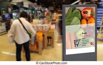 inteligencia, signage, artificial, anuncio, digital, moniter, inteligente, exhibición, interactivo
