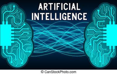 inteligencja, nauka, mózg, sztuczny, pojęcie, maszyna