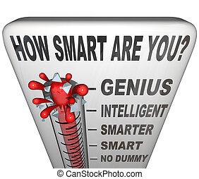 inteligencja, termometr, jak, miara, ty, mądry